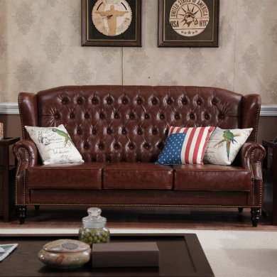 top leather sofa 3 seater vintage style