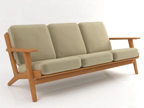 Hans J Wegner Style GE 290 Sofa 3 Seater