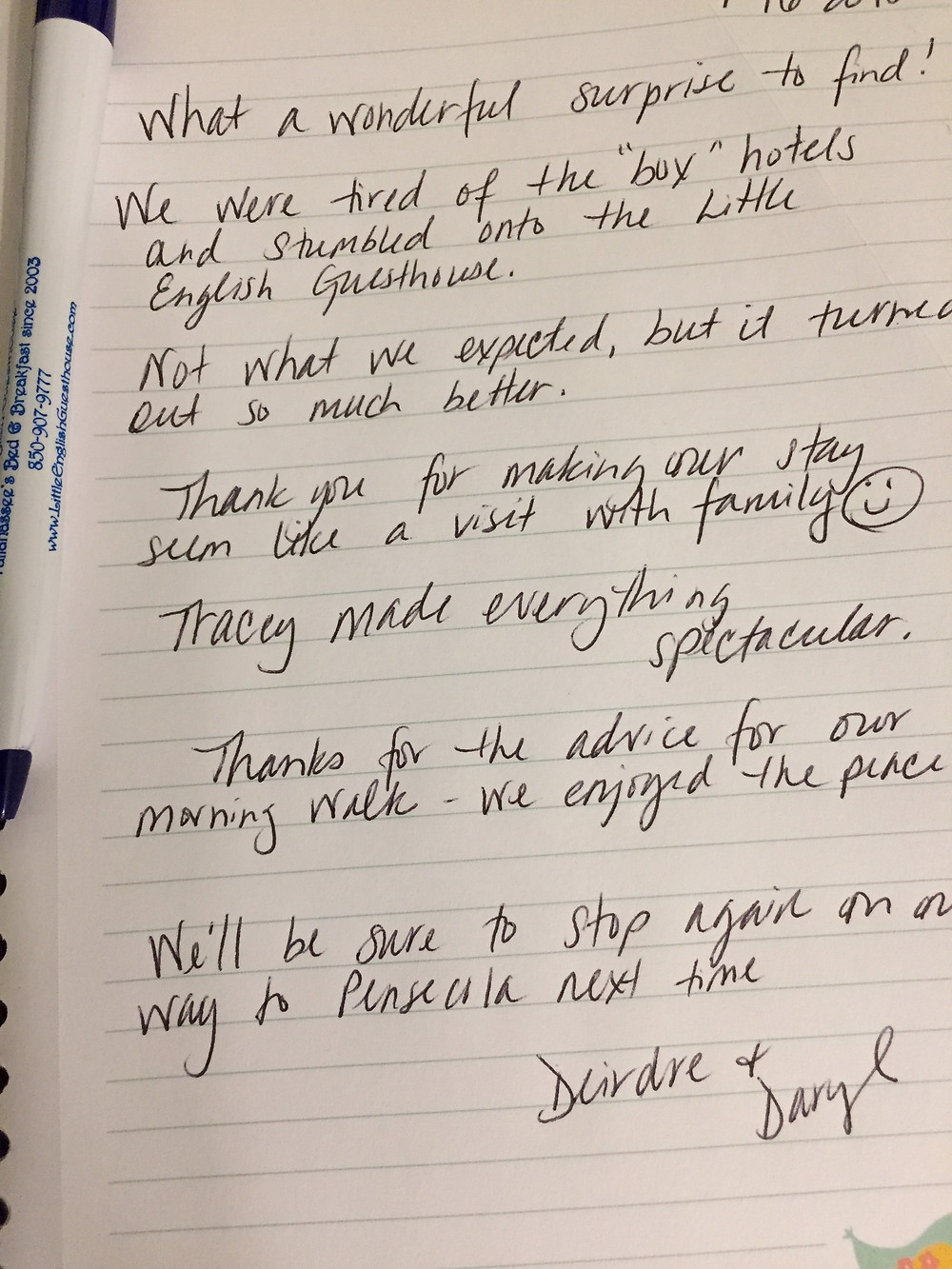 Guest comment / review of the Little English Guesthouse