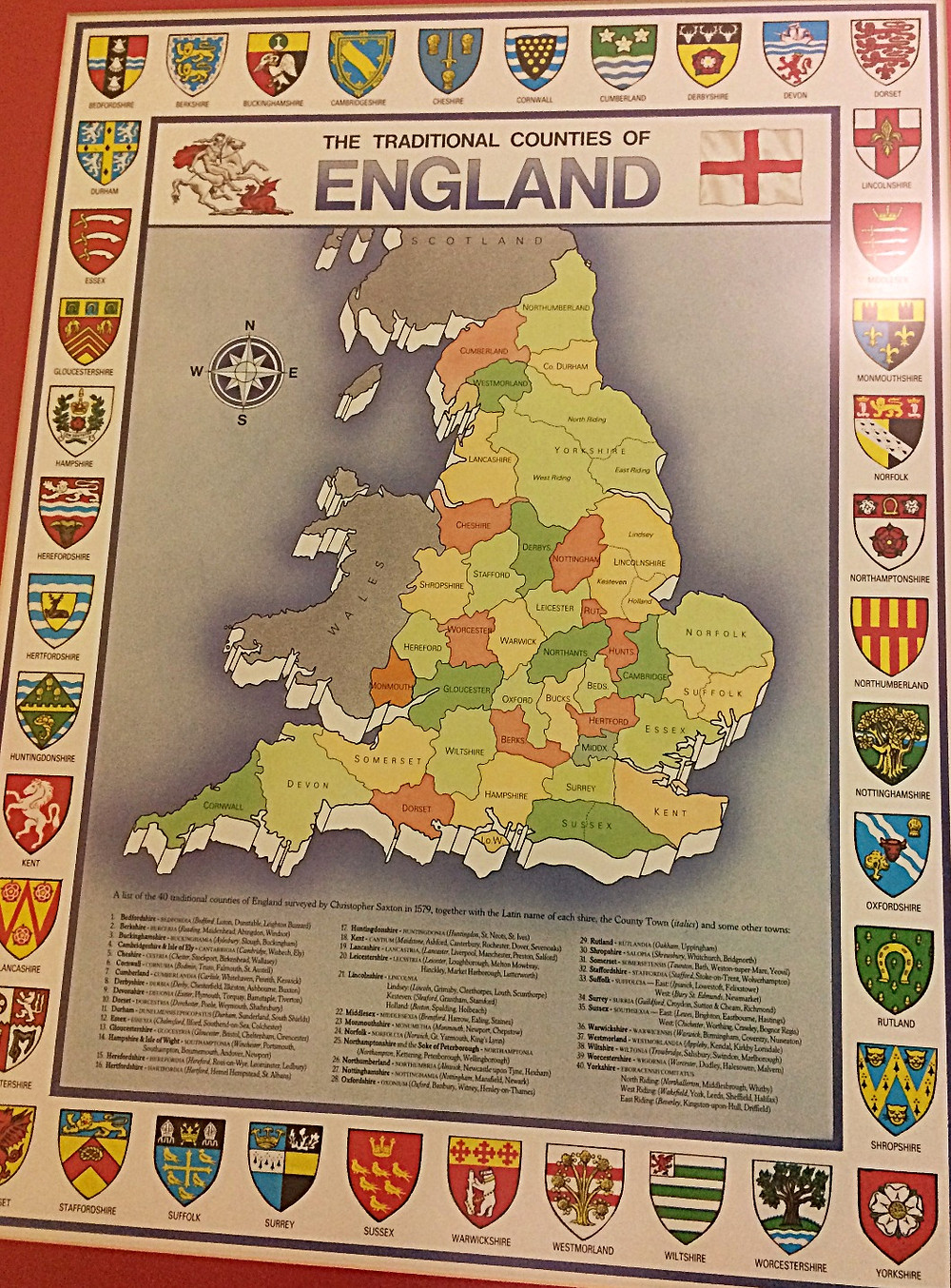 Map of Counties in England