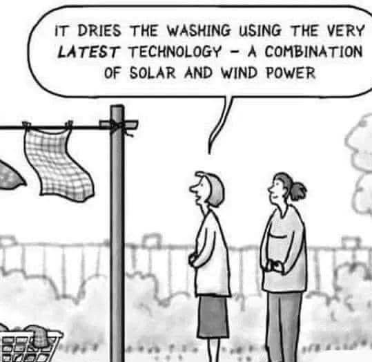 Solar Wind power washing line with two ladies