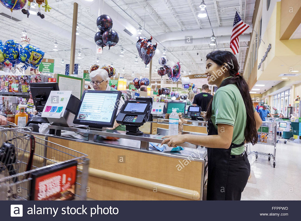 checkout line at the grocery store