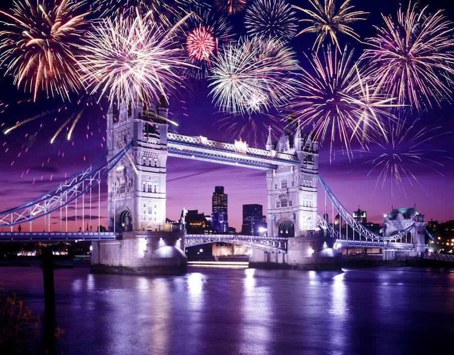 Fireworks over London, England