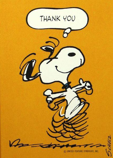 Snoopy dancing and saying Thank You