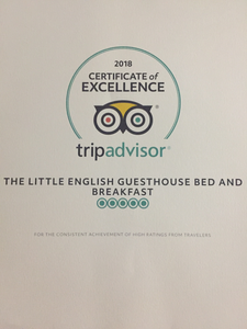 Certificate of Excellence for the Little English Guesthouse