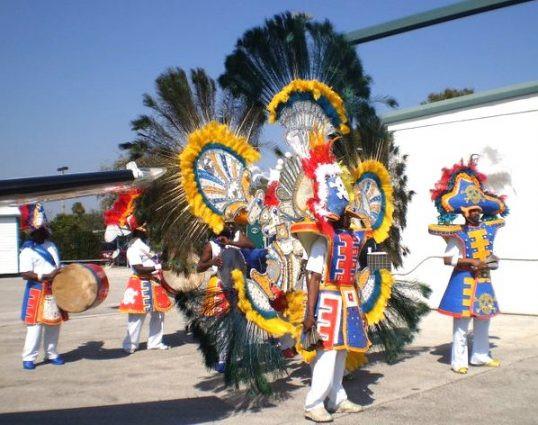 Bahamian costumed people