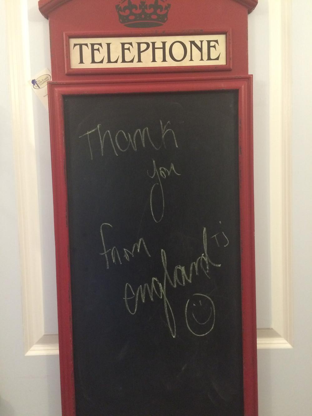 British Telephone Chalkboard message