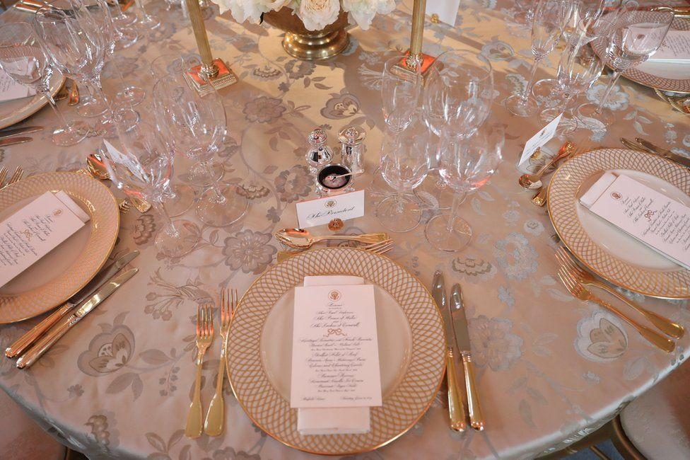 Place setting for dinner at Buckingham Palace