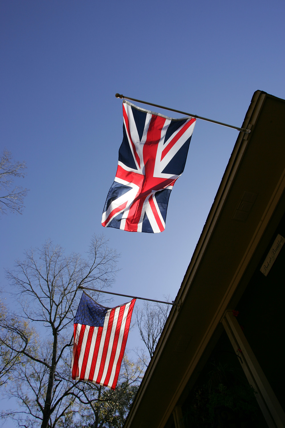 American and British Flags at the Little English Guesthouse in Tallahassee