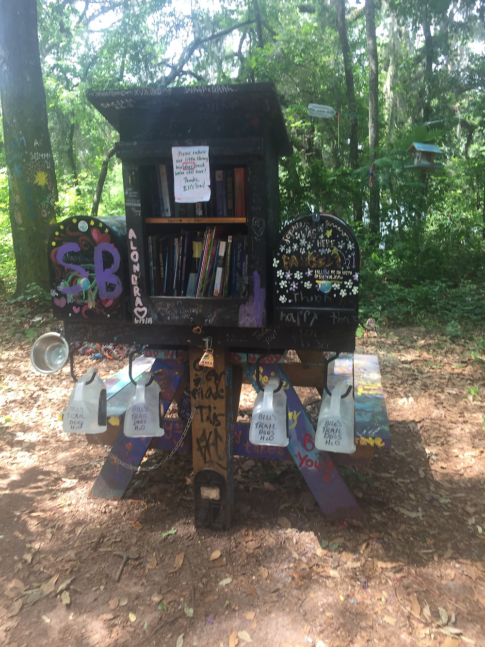 Community free mini library in the woods