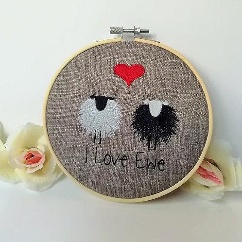 Love Ewe Embroidered Wall Hanging