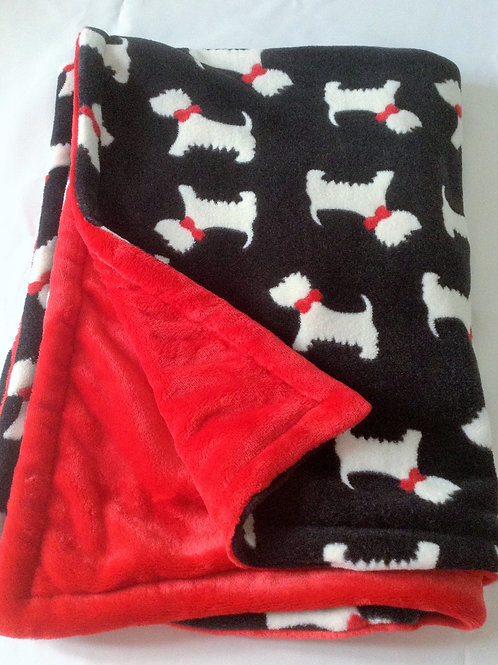 Scottie Dogs Black on Red