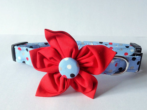 Sky Polka Dot Flower Collar
