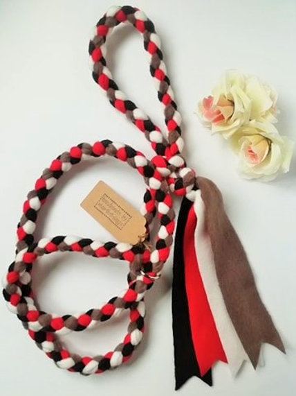 Red Black Brown White Braided Fleece Dog Lead