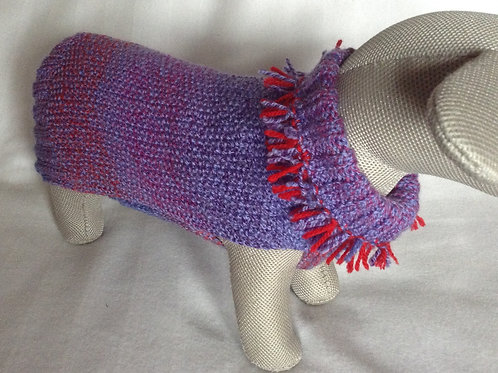 Purple Red Tassel Hand Knitted Jumper