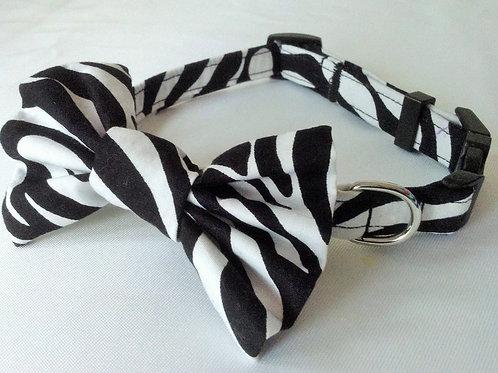 Zebra Print Bow Collar