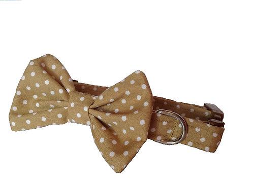 Beige Polkadot Bow Collar