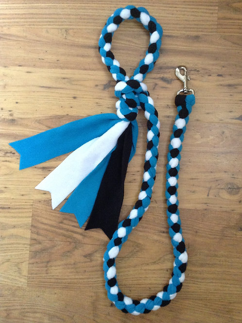 White Black Turquoise Braided Fleece Dog Lead