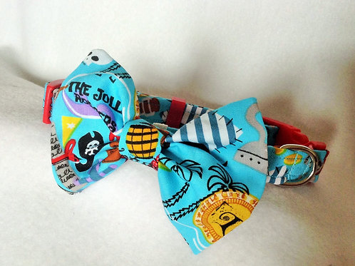 Turquoise Pirate Bow Collar