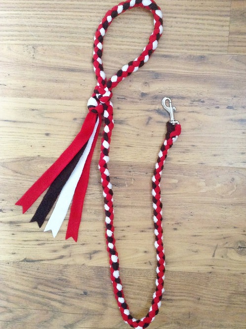 Brown, Cream & Red Braided Fleece Dog Lead