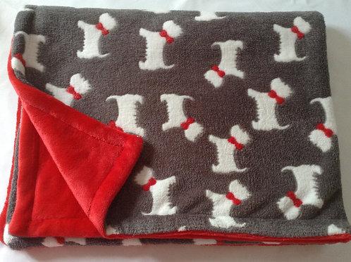 Scottie Dogs Grey on Red
