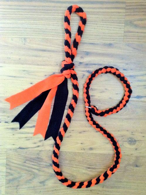 Orange & Black Braided Fleece Dog Lead