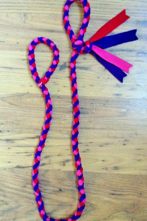 Purple Cerise Red Braided Fleece Dog Lead