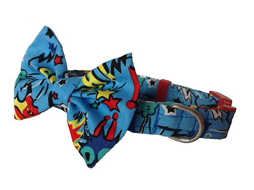 Smash Pow Blue Bow Collar
