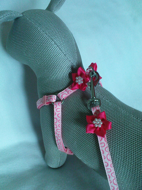 Baby Pink Cerise Flower Harness & Lead