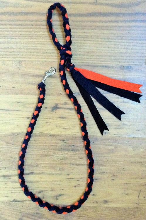 Black Navy Orange Braided Fleece Dog Lead