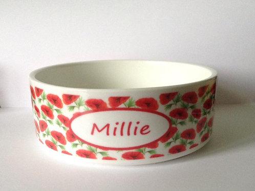 Red Poppy Dog Bowl