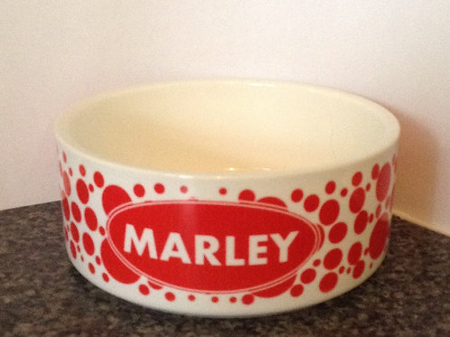 Red Spots Dog Bowl