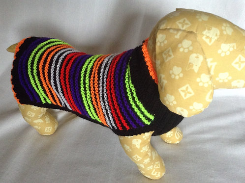 Bright Stripe Orange Hand Knitted Jumper