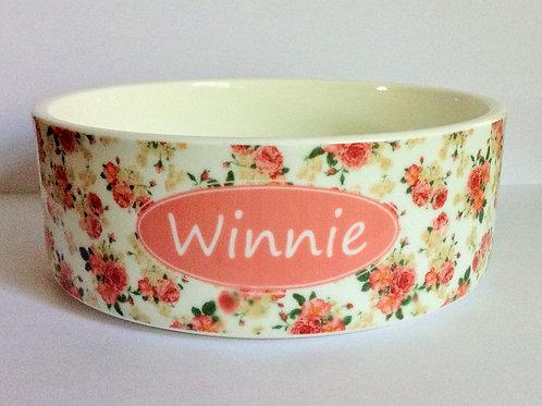 Peach Floral Dog Bowl