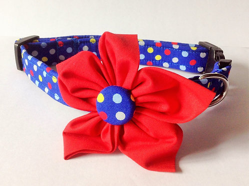 Royal Polka Dot Flower Collar