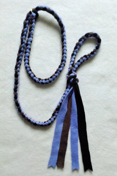 Mid Blue, Grey & Black Braided Fleece Dog Lead