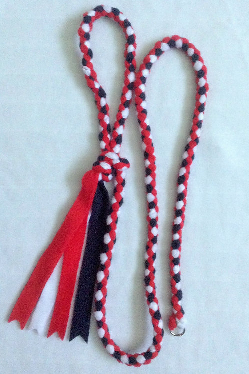 Red, White & Navy Blue Braided Lead