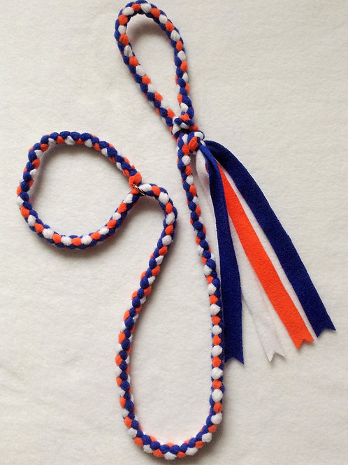 Royal Blue, Orange, White & Black Braided Fleece Lead