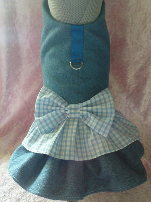 Denim Gingham Harness Dress