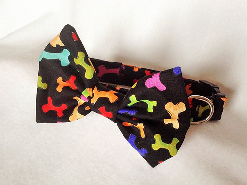 Bright Dog Bones Bow Collar