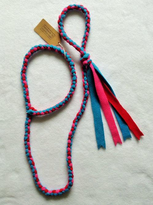 Turquoise, Red & Cerise Braided Fleece Lead