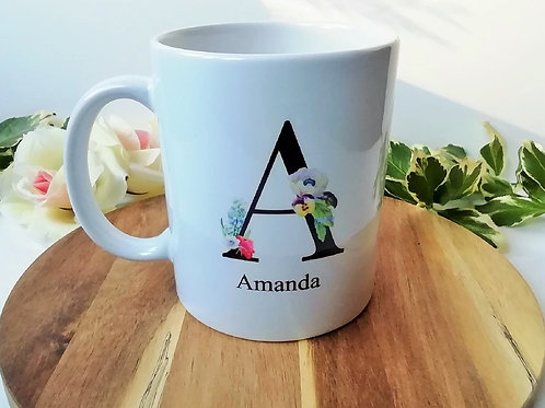 Personalised Name Mug Floral Letter