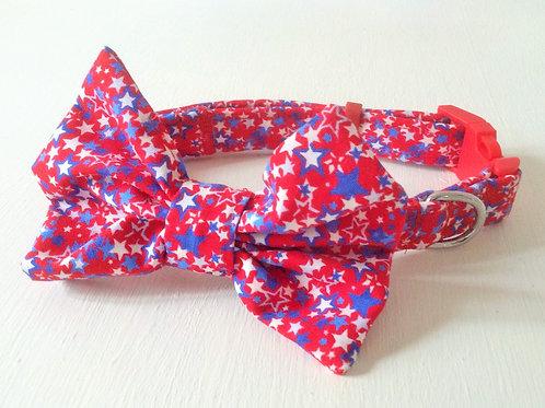 Mini Stars Print Bow Collar