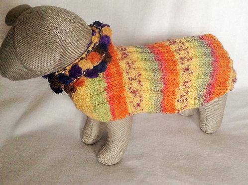 Pom Pom Neck Hand Knitted Jumper