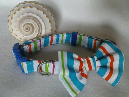 Multi Stripe Bow Collar