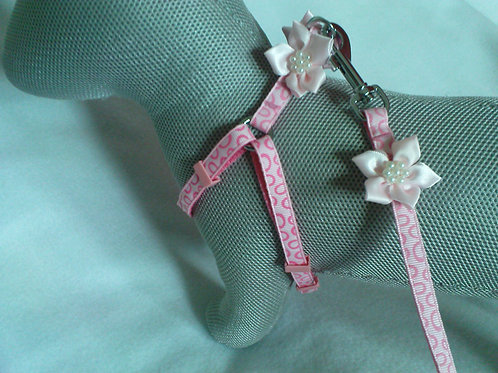 Baby Pink Flower Harness & Lead