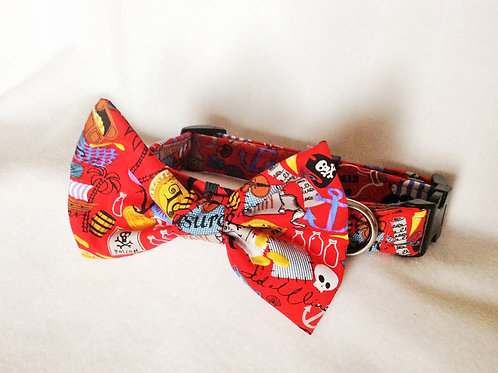 Red Pirate Bow Collar