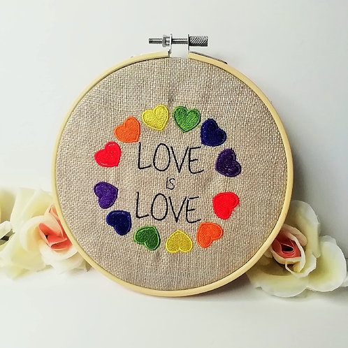 Rainbow Love Hearts Embroidered Wall Hanging Pride LGBT