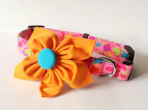 Pink Funky Flower Collar
