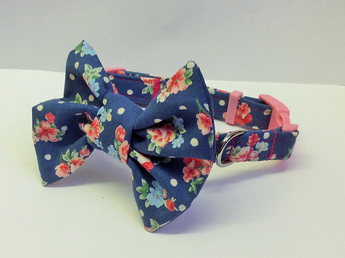 Denim Rose Bow Collar